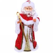Дед Мороз музыкальный 40 см с посохом, красный купить оптом и в розницу