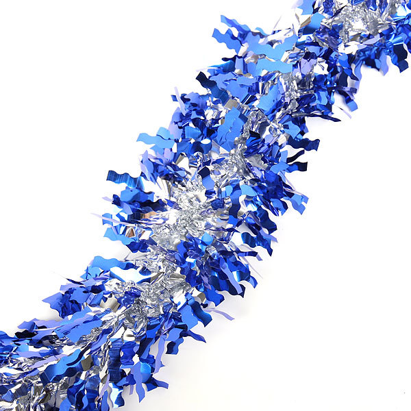 Мишура новогодняя 2 метра 10см ″Серебряный блеск″ темно-синий купить оптом и в розницу