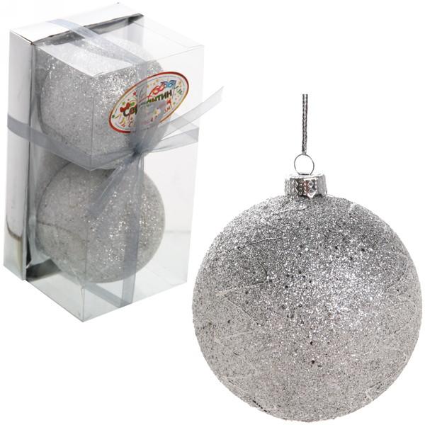 Новогодние шары ″Снежный бум″ 8см (набор 2шт.) купить оптом и в розницу