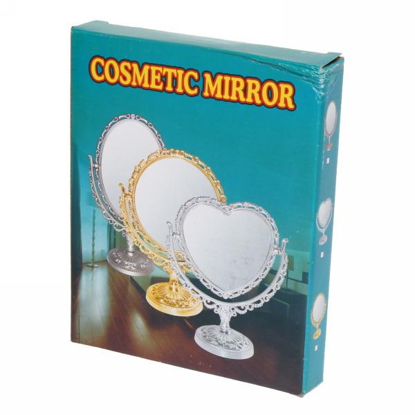 Зеркало настольное в пластиковой оправе ″Версаль - Прямоугольник″ цвет серебро, двухстороннее 22см купить оптом и в розницу