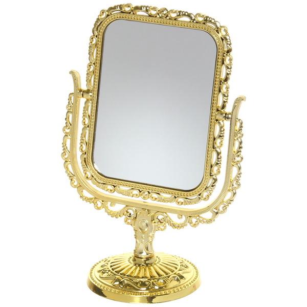 Зеркало настольное в пластиковой оправе ″Версаль - Прямоугольник″ цвет золото, двухстороннее, с увеличением 22см купить оптом и в розницу