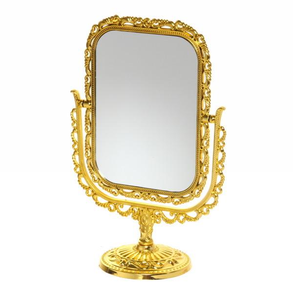 Зеркало настольное ″Версаль-винтаж″ Прямоугольник 26см 439-3 золотой цв купить оптом и в розницу