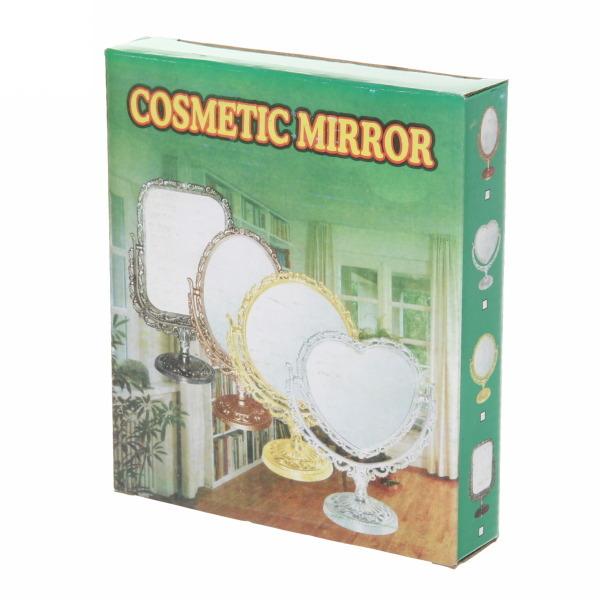 Зеркало настольное в пластиковой оправе ″Версаль Винтаж Прямоугольник″ цвет серебро, двухстороннее 26см купить оптом и в розницу
