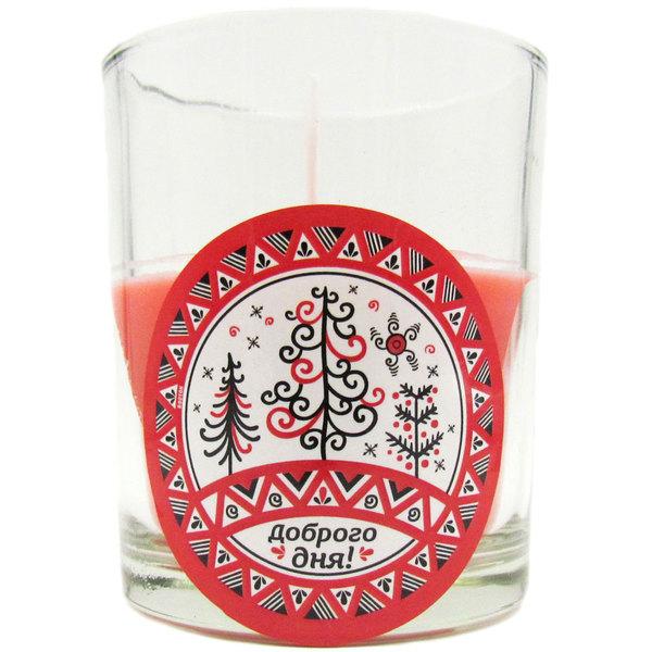 Свеча в стеклянном стакане ″Доброго дня!″, Мезенская роспись (красная) купить оптом и в розницу