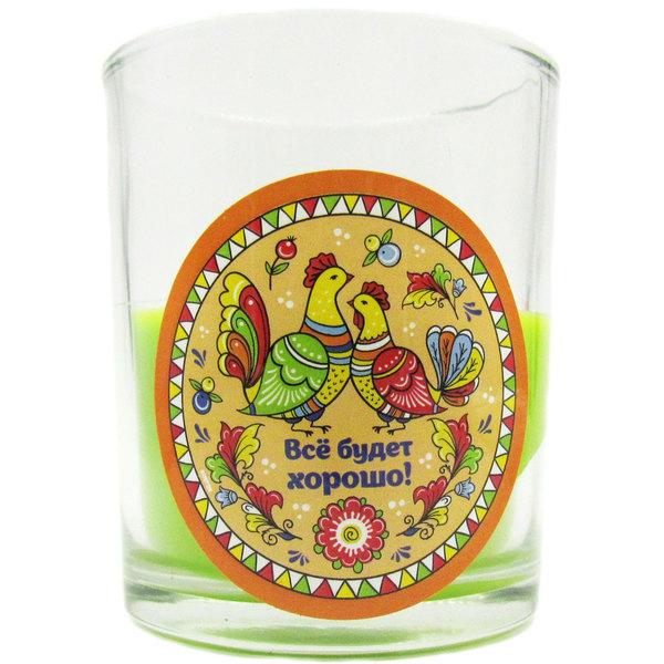 Свеча в стеклянном стакане ″Все будет хорошо!″, Северодвинская роспись (зелёная) купить оптом и в розницу