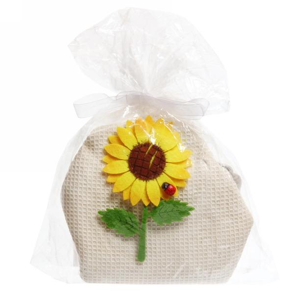 Полотенце кухонное d70см круглое вафельное Подсолнух купить оптом и в розницу