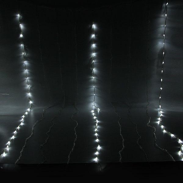 Занавес светодиодный ш 2 * в 3м, 480 ламп LED, Белый, 8 реж, прозр.пров. купить оптом и в розницу