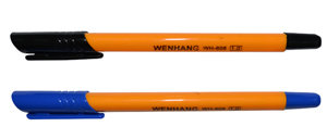 Ручка шар.YIWU 1мм синяя, трехгран. оранж. корпус купить оптом и в розницу