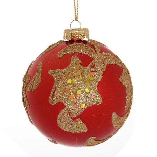 Новогодние шары ″Красный рубин″ 7см (набор 4шт.) купить оптом и в розницу