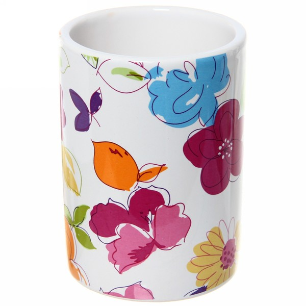 Набор для ванной из 4-х предметов керамический, яркие цветы купить оптом и в розницу