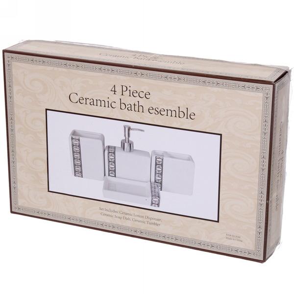 Набор для ванной из 4-х предметов керамический 13046B купить оптом и в розницу