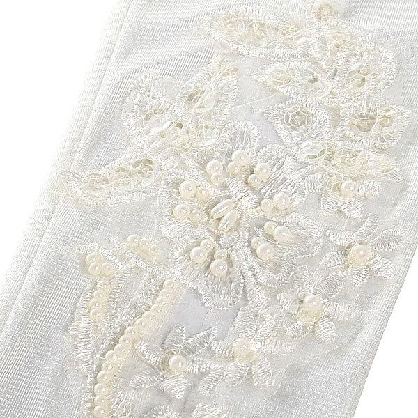 Перчатки для невесты ″Принцесса″ с вышивкой и бусинками 40 см купить оптом и в розницу
