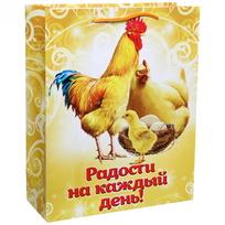 Пакет подарочный 26х32 см вертикальный ″Радости на каждый день!″, Куриное семейство купить оптом и в розницу