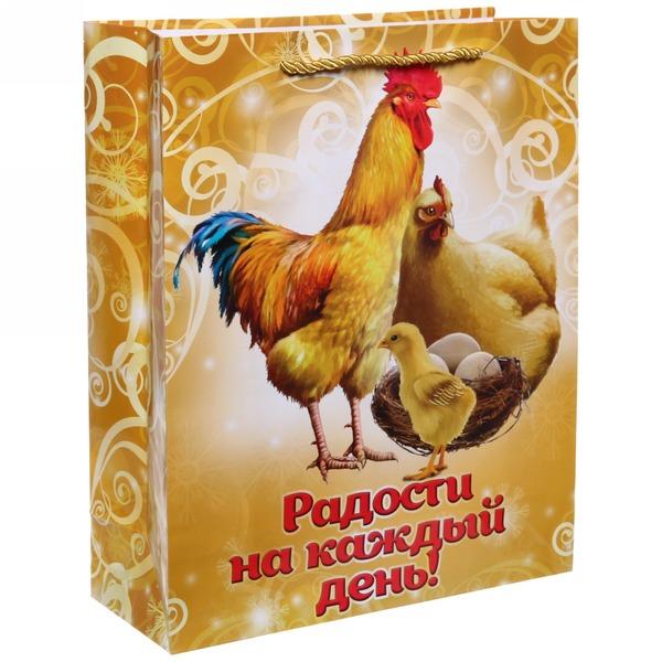 Пакет 26х32 см глянцевый ″Радости на каждый день!″, Куриное семейство, вертикальный купить оптом и в розницу