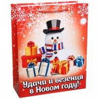 Пакет подарочный 26х32 см вертикальный ″Удачи и везения в Новом году!″, Снеговичок купить оптом и в розницу
