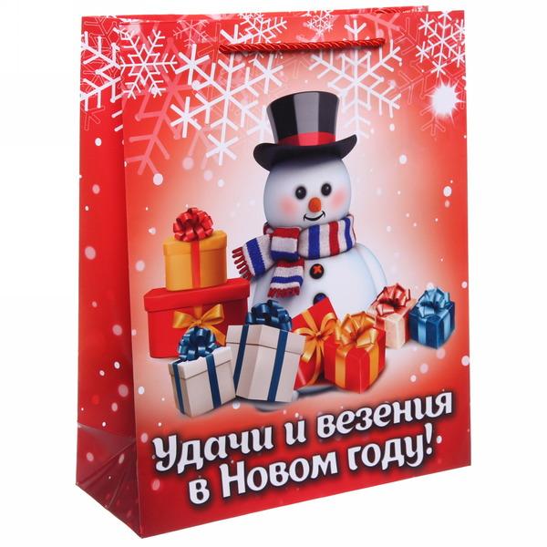 Пакет 26х32 см глянцевый ″Удачи и везения в Новом году!″, Снеговичок, вертикальный купить оптом и в розницу