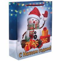 Пакет 26х32 см глянцевый ″С Новым годом!″, Снеговичок, вертикальный купить оптом и в розницу