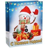 Пакет подарочный 26х32 см вертикальный ″С Новым годом!″, Снеговичок купить оптом и в розницу