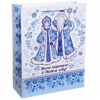 Пакет подарочный 26х32 см вертикальный ″Всего хорошего в Новом году!″, Гжель купить оптом и в розницу