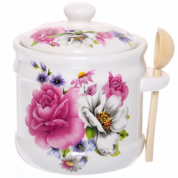 Сахарница керамическая 500мл ″Цветы -2″ купить оптом и в розницу