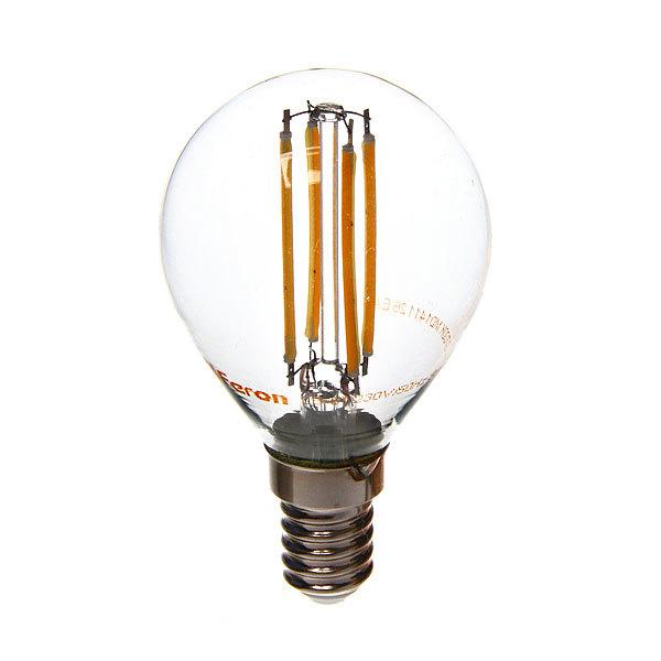 Лампа светодиод.филамент ШАР 5Вт E14 2700K малый теплый белый G45 LB-61 Feron купить оптом и в розницу