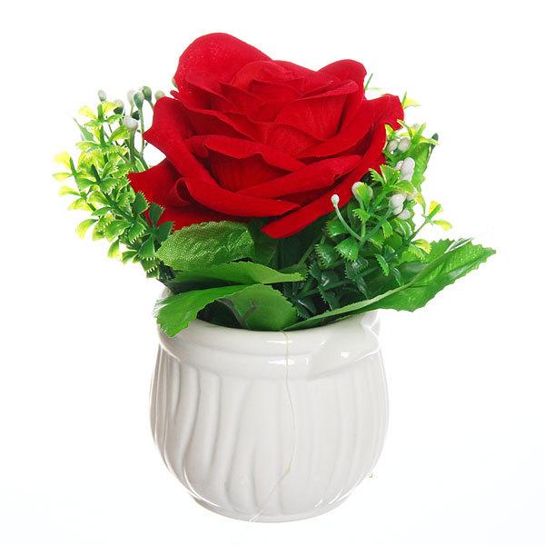 Цветок искусственный ″Роза″ в горшочке красная F0686-27 купить оптом и в розницу