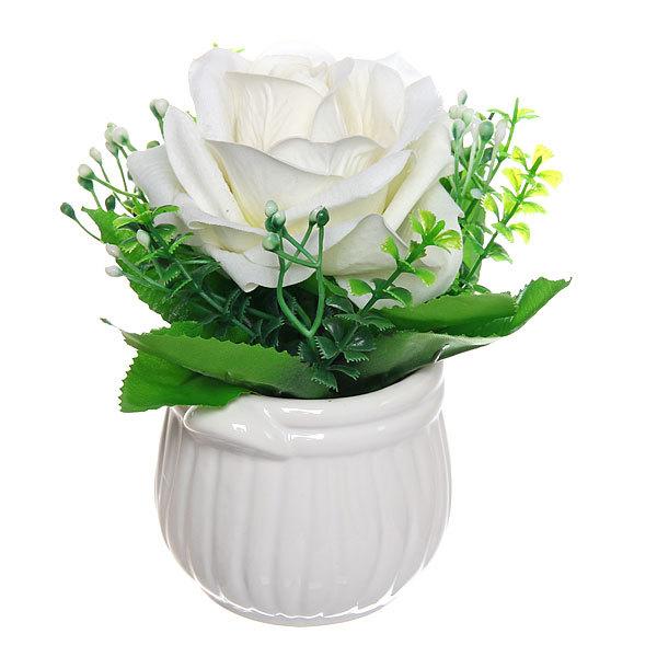 Цветок искусственный ″Роза″ в горшочке белая F0686-27 купить оптом и в розницу