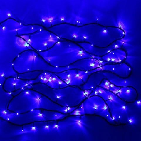 Гирлянда светодиодная уличная 11,5 м, 100 ламп LED Синий, 8 реж, зелен.пров. купить оптом и в розницу