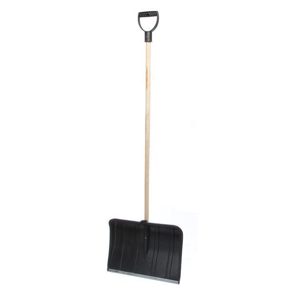 Лопата снеговая 490х370 №13 пласт. с оц.планкой и дерев.черенком д.32 купить оптом и в розницу