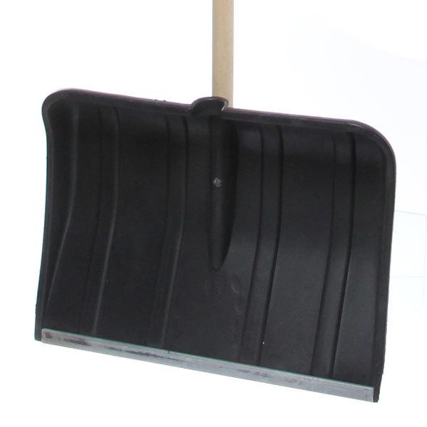 Лопата снеговая ,пластиковая с планкой и дерев.черенком 49х37 см купить оптом и в розницу