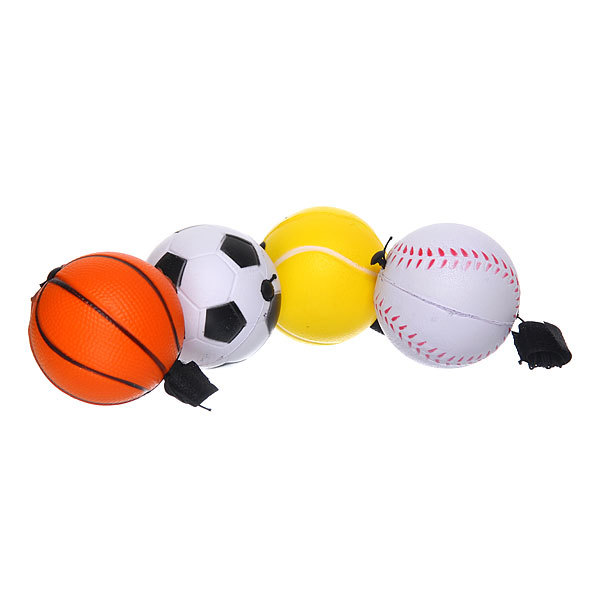 Мяч-антистресс Спортивные мячи 6,3см с резинкой, набор 12шт (цена за набор) купить оптом и в розницу