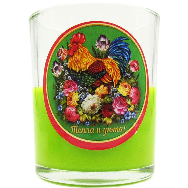 Свеча в стеклянном стакане ″Тепла и уюта!″, Жостовский петушок (зелёная) купить оптом и в розницу