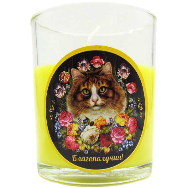 Свеча в стеклянном стакане ″Благополучия!″, Жостовская кошка (жёлтая) купить оптом и в розницу