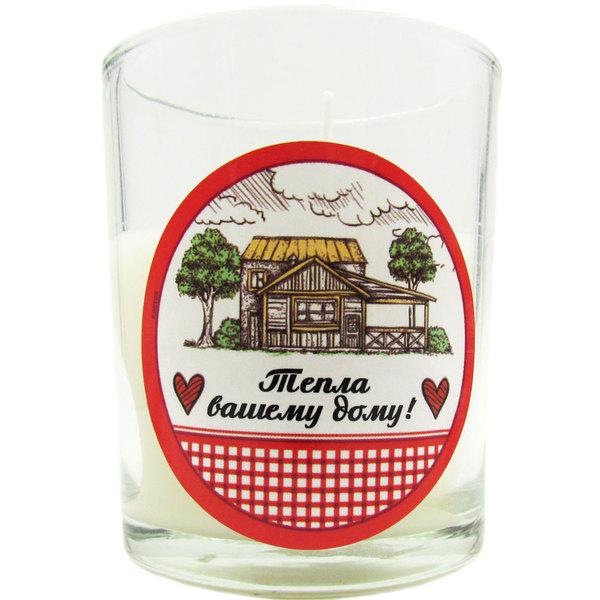 Свеча в стеклянном стакане ″Тепла Вашему дому!″, Деревенская курочка (белая) купить оптом и в розницу