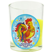Свеча в стеклянном стакане ″Кукареку! Удачи в Новом году!″, Сказочный петушок (жёлтая) купить оптом и в розницу
