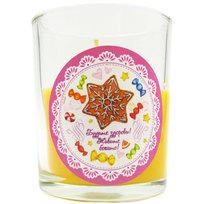 Свеча в стеклянном стакане ″Будьте здоровы! Живите богато!″, Сладкий петушок (оранжевая) купить оптом и в розницу