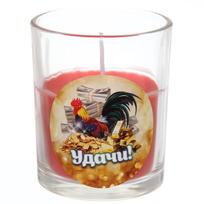 Свеча в стеклянном стакане ″Удачи!″, Денежный петушок (красная) купить оптом и в розницу