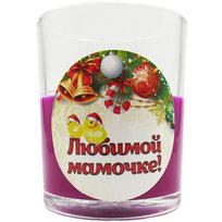 Свеча в стеклянном стакане ″Любимой мамочке!″, Золотые цыплята (фуксия) купить оптом и в розницу