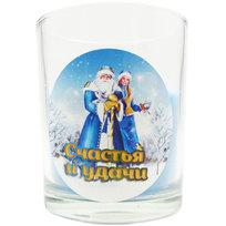 Свеча в стеклянном стакане ″Счастья и удачи!″, Дед Мороз и Снегурочка (синяя) купить оптом и в розницу