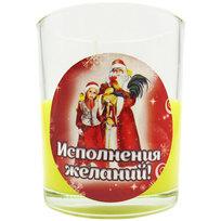 Свеча в стеклянном стакане ″Исполнения желаний!″, Дед Мороз и внучка (жёлтая) купить оптом и в розницу