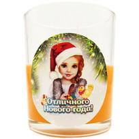 Свеча в стеклянном стакане ″Отличного Нового года!″, Снегурочка (оранжевая) купить оптом и в розницу