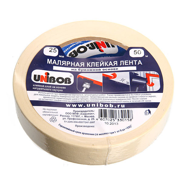 Клейкая лента малярная 25*50м (UNIBOB) купить оптом и в розницу