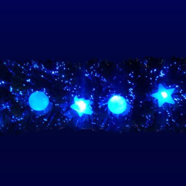 Гирлянда светящаяся хвойная 200см синий 18LED звезды и шары купить оптом и в розницу
