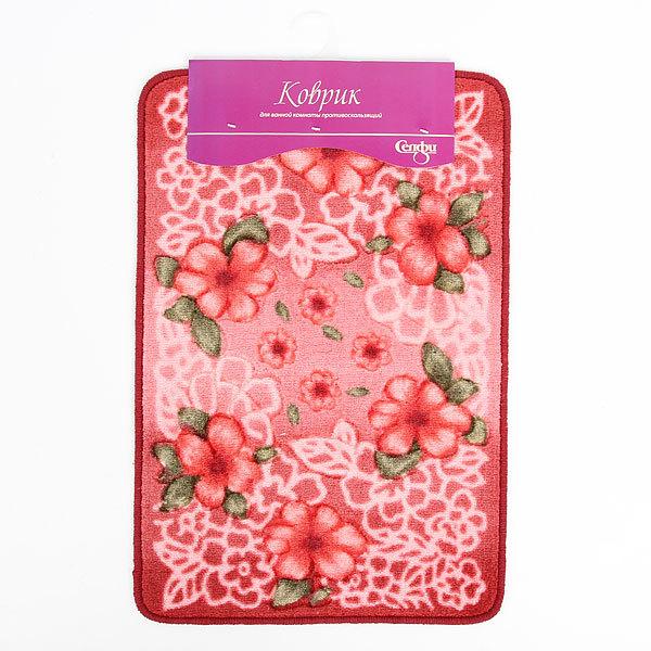 Коврик для ванной ″Цветы на розовом″ 40*60 см купить оптом и в розницу