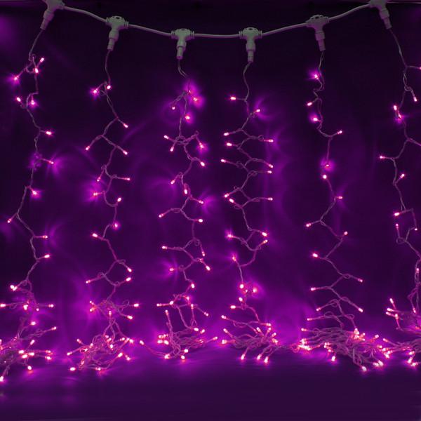 Занавес светодиодный ш 2 * в 3м, 432 ламп LED, ″Дождь″, Розовый, 8 реж, прозр.пров. купить оптом и в розницу