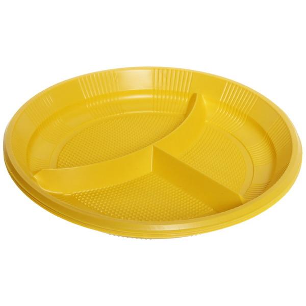 Тарелка одноразовая 20,5см 3-х секционная в наборе 12шт купить оптом и в розницу