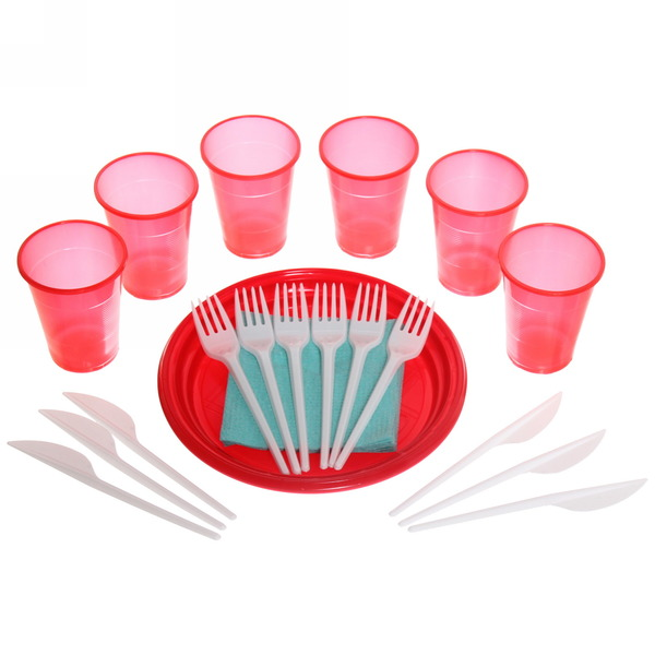 Набор одноразовой посуды ″Пикник″ на 6 персон (тарелка 20,5см, стакан 0,2л, вилка, нож, салфетки) купить оптом и в розницу