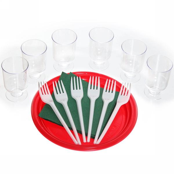Набор одноразовой посуды ″Праздник″ на 6 персон (тарелка 20,5см, рюмка, вилка, салфетка)(1/50) купить оптом и в розницу