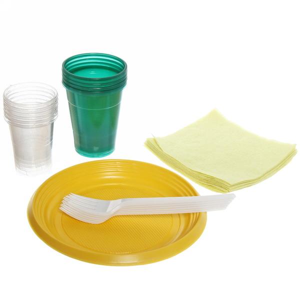 Набор одноразовой посуды ″Турист″ на 6 персон (тарелка 17см, стакан 0,2л., стакан 0,1л., вилка, салфетка)(1/50) купить оптом и в розницу