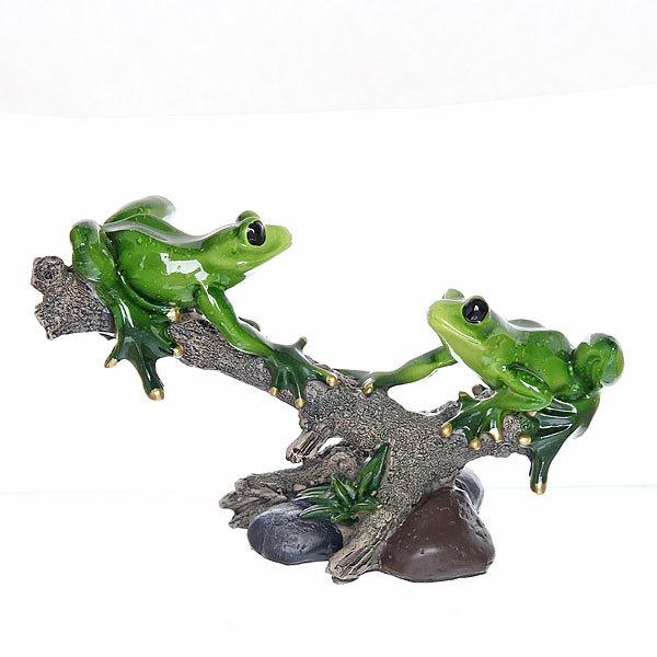 Статуэтка из полистоуна ″Лягушки мраморные на веточке″ 13,5*21см 1771 купить оптом и в розницу
